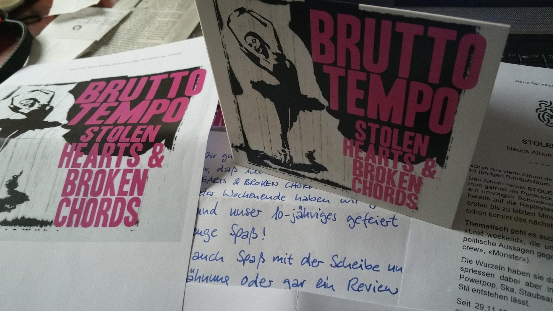 review: BRUTTO TEMPO – stolen hearts & broken chords CD
